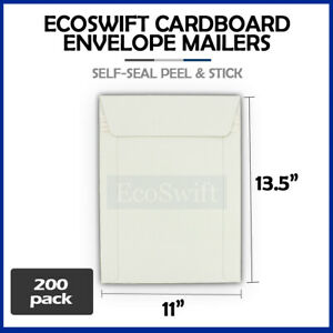 200 11 X 13 5 Self Seal White Photo Ship Flats Cardboard Envelope Mailers