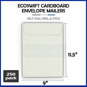 250 9 X 11 5 Self Seal White Photo Shipping Flats Cardboard Envelope Mailers