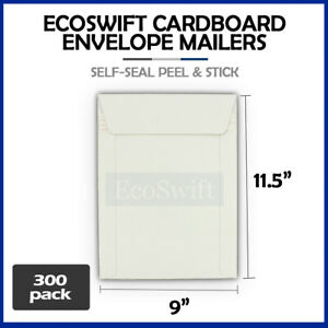 300 9 X 11 5 Self Seal White Photo Shipping Flats Cardboard Envelope Mailers
