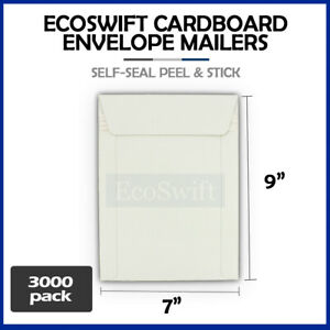 3000 7 X 9 White Cd dvd Photo Shipping Flats Cardboard Envelope Mailers 7x9