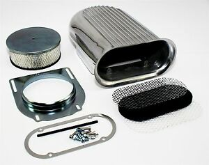 Retro Finned Styled Hood Scoop Air Cleaner Assembly W Filter Kit Rat Hot Rod