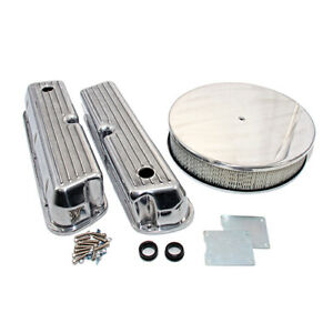 Ford 289 302 351w Finned Retro Aluminum Valve Covers Round Air Cleaner Dress Up