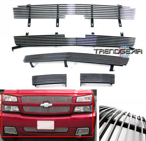 2003 2004 2005 Chevy Silverado 1500 Ss Front Upper bumper Billet Grille Combo