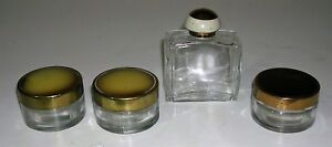 Vintage Art Deco Vanity Lot 3 Cold Cream Jars Rockford Perfume Bottle