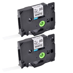 2pk Tze 231 Tz 231 Label Tape For Brother P touch Pt d400 Black On White 12mm