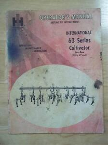 Ih International Operator Manual 63 Series Cultivator maintenance original