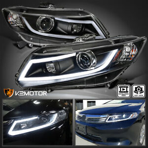 For 2012 2015 Honda Civic Led Light Bar Projector Headlights Cyrstal Black