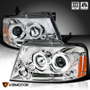 Fits 2004 2008 Ford F150 Led Halo Clear Projector Headlights Lamps Left Right