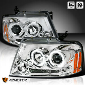 For 2004 2008 Ford F150 Halo Led Projector Headlights Chrome Pair Left right