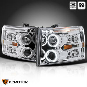 For 2007 2013 Chevy Silverado 1500 2500hd Led Halo Projector Headlights Lamps