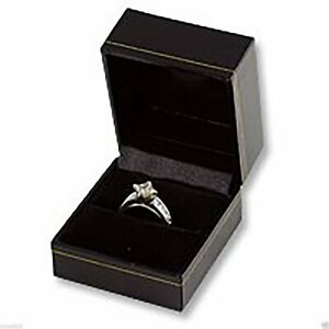 New Classic Cartier Design Style Ring Gift Box Black Leatherette