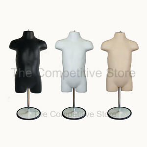 3 Black White Flesh Toddler Mannequin Forms With Metal Base 18 Mo 4t Clothing