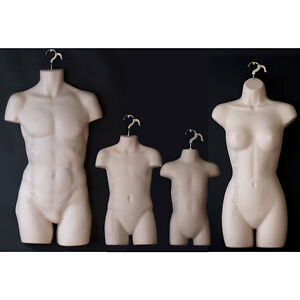 Flesh Tone Female Dress Male Child Toddler 4 Mannequin Display Body Forms