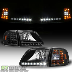 Blk 1997 2003 Ford F150 Expedition Headlights W Drl Led Corner Signal Headlamps