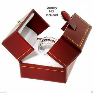 New Classic Cartier Design Leatherette Red Double Doors Ring Gift Box W Packer