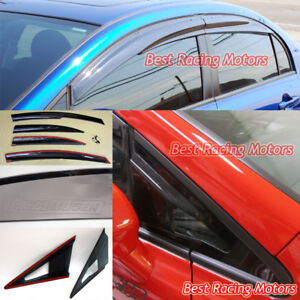 Mu2 Style Side Window Clips Side Mirror Air Vent Visors Fit 06 11 Civic 4dr