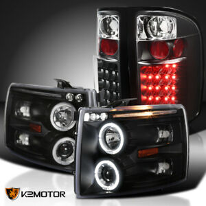 For 2007 2014 Silverado Black Halo Projector Headlights Led Tail Brake Lamps