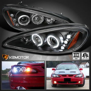 Fit 1999 2005 Pontiac Grand Am Led Halo Projector Headlights Black Left Right