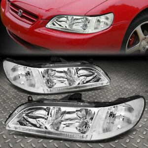 For 1998 2002 Honda Accord Pair Chrome Housing Clear Corner Headlight Lamp Set