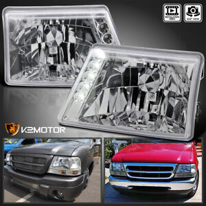 Fit 1998 2000 Ford Ranger Crystal Clear Led Headlights 98 00 Left right