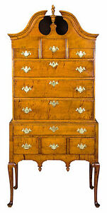 Swc Fine Tiger Maple Queen Anne Highboy With Bonnet Top Ma C 1750