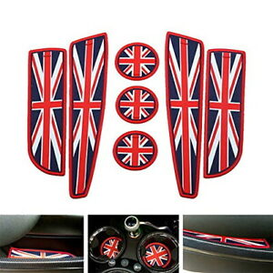 Red Union Jack Uk Flag Style Coasters For Mini Cooper Cup Holders Side Door Mats