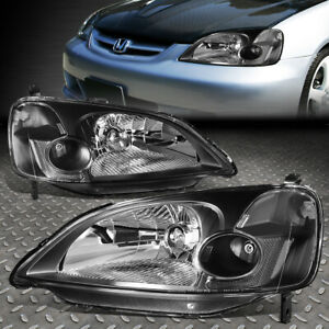 For 01 03 Honda Civic Black Housing Clear Corner Headlight Replacement Headlamp