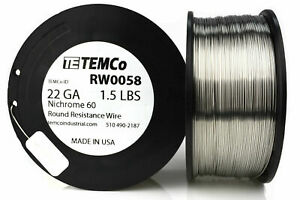 Temco Nichrome 60 Series Wire 22 Gauge 1 5 Lb 834 Ft resistance Awg Ga