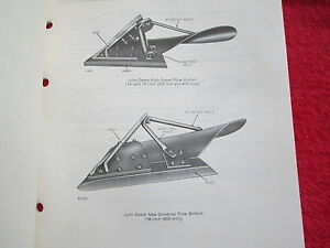 1978 Jd John Deere High Speed Semi deep slat Plow Bottoms Parts Catalog Manual
