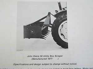 1979 Jd John Deere 50 Utility Tractor Box Scraper Parts Catalog Manual