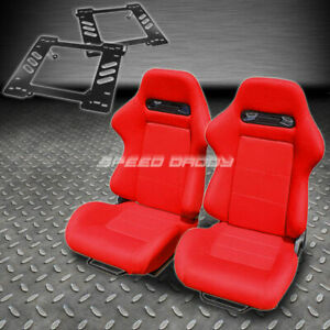 Pair Type R Red Cloth Reclining Racing Seat Bracket For 97 06 Wrangler Tj Suv