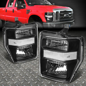 For 2008 2010 Ford Super Duty Pair Black Housing Clear Side Headlight lamp Set