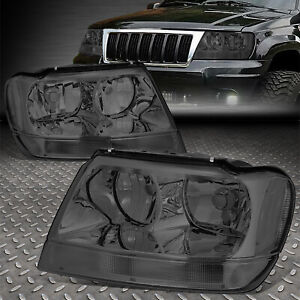 For 1999 2004 Jeep Grand Cherokee Smoked Housing Clear Corner Headlight lamp Set