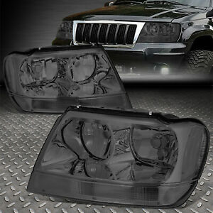 For 99 04 Jeep Grand Cherokee Wj Smoked Housing Clear Corner Headlight Head Lamp
