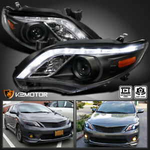 Fits 2011 2013 Toyota Corolla Led Strip Projector Headlights Black Left right