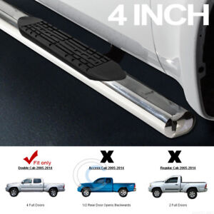 4 Oval Chrome Side Step Bars Rail Running Boards 05 18 Tacoma Double Crew Cab