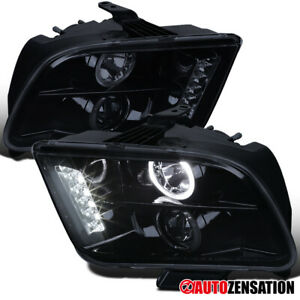 2005 2009 Ford Mustang Glossy Black Led Halo Projector Headlights Lamps