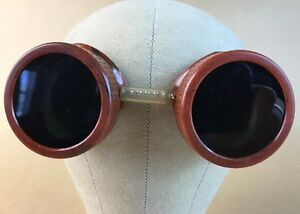 Vtg Steampunk Goggles Glass Bakelite Welding Lightning Bolts Free Priority Ship