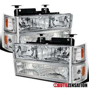 94 98 Chevy C k Tahoe Suburban Clear Headlights corner Signal bumper Lamps