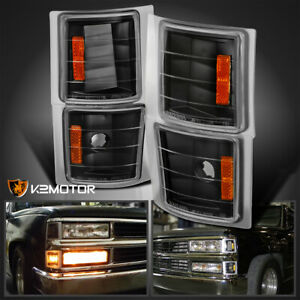 For 94 98 Chevy C K Tahoe Suburban Silverado Corner Lights Signal Lamps Black