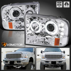 1999 2004 Ford F250 F350 F450 F550 Led Halo Projector Headlights Left Right