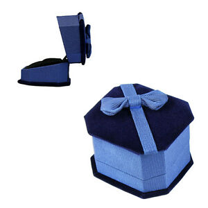Deluxe Royal Blue Velvet Satin Bow Ring Jewelry Presentation Display Gift Box