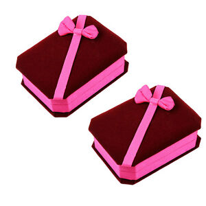 Two Deluxe Burgundy Pink Velvet Satin Bow Pendant Necklace Jewelry Gift Boxes