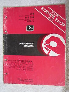 John Deere 850 950 Tractor Operators Manual