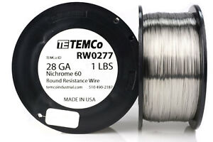 Temco Nichrome 60 Series Wire 28 Gauge 1 Lb 2257 Ft resistance Awg Ga