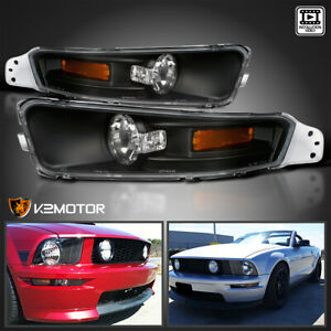 For 2005 2009 Ford Mustang Bumper Turn Signal Parking Lights Black Left Right