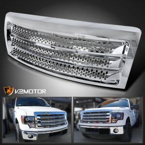 Fits 2009 2014 Ford F150 Denali Round Hole Style Chrome Front Bumper Hood Grille