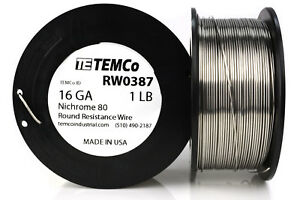 Temco Nichrome 80 Series Wire 16 Gauge 1 Lb 135ft Resistance Awg Ga