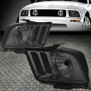 For 05 09 Ford Mustang S197 Pair Smoked Housing Headlight Replacement Head Lamps