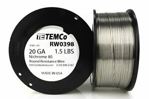 Temco Nichrome 80 Series Wire 20 Gauge 1 5 Lb 511 5ft Resistance Awg Ga